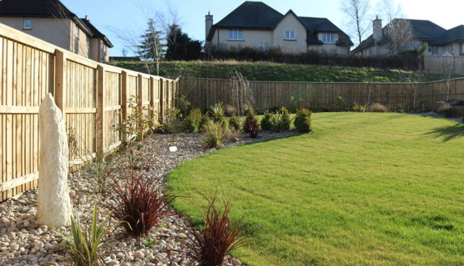 Garden Bed with Gravel and Plants Contrasting with Turfed Lawn